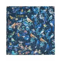 Eton Printed Birds Silk Pocket Square Blue