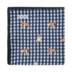 Eton Printed Dog Check Silk Pocket Square Blue