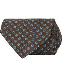 Eton Silk Geometric Print Tie Brown