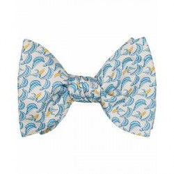 Eton Silk Printed Bananas Self Bow Tie Grey