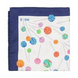 Eton Silk Printed Candy Pocket Square Blue