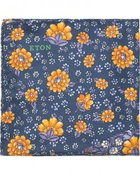 Eton Silk Printed Paisley Flower Pocket Square Blue