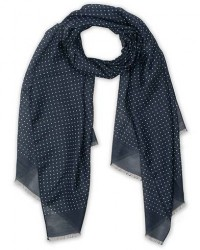 Eton Silk Wool Polka Dot Scarf Blue men One size Blå