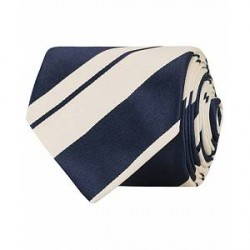 Eton Silk/Cotton Stripe 8 cm Tie Blue
