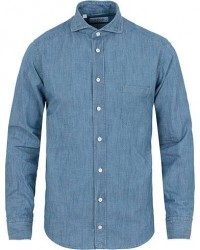 Eton Slim Fit Denim Cut Away Shirt Indigo Blue