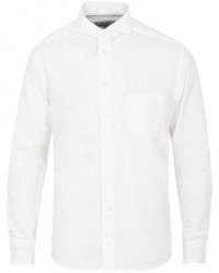 Eton Slim Fit Flannel Cut Away Shirt White