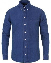 Eton Slim Fit Green Ribbon Denim BD Shirt Blue