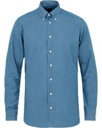 Eton Slim Fit Indigo Twill Button Down Shirt Blue