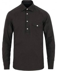 Eton Slim Fit Lightweight Flannel Popover Shirt Black