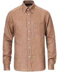 Eton Slim Fit Linen Button Down Shirt Light Brown men 42 - L Brun