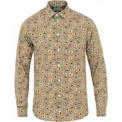 Eton Slim Fit Printed Safari Shirt Green