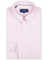 Eton Slim Fit Royal Oxford Stripe Button Down Pink