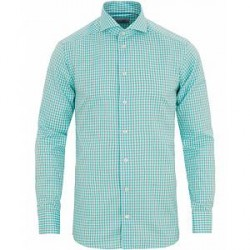 Eton Slim Fit Signature Twill Check Shirt Light Green
