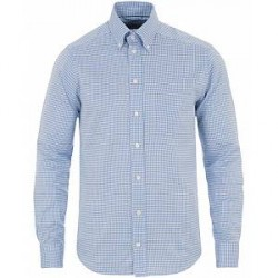 Eton Slim Fit Twill Check Shirt Light Blue