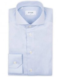 Eton Slim Fit Twill Cut Away Shirt Light Blue