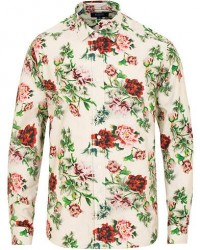 Eton Slim Fit Twill Printed Flower Shirt White