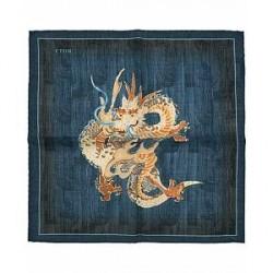 Eton Virgin Wool Printed Dragon Pocket Square Navy