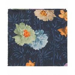 Eton Virgin Wool Printed Flower Pocket Square Navy
