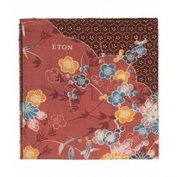 Eton Virgin Wool Printed Flower Pocket Square Red