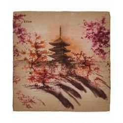 Eton Wool/Silk Printed Japanese Garden Pocket Square Brown