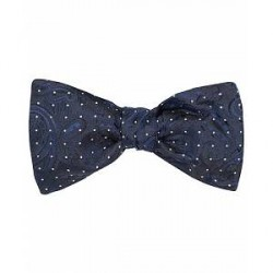 Etro Dotted Paisley Bow Tie Dark Blue