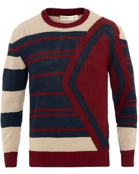 Etro Intarsio Knitted Sweater Red/Blue/White men XL