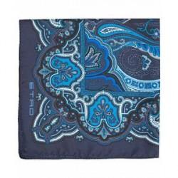 Etro Large Paisley Silk Pocket Square Blue