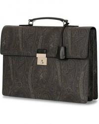 Etro Leather Buckle Briefcase Black Paisley men One size Sort,Grå