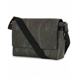 Etro Leather Messenger Bag Black Paisley