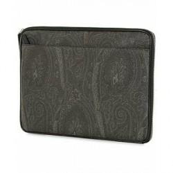 Etro Leather Portfolio Black Paisley