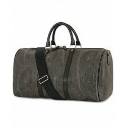Etro Leather Weekend Bag Black Paisley