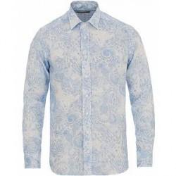 Etro Linen Printed Paisley Shirt White/Blue
