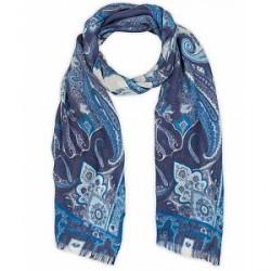 Etro Modal/Wool//Cashmere Paisley Scarf Blue