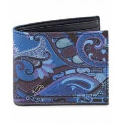 Etro Paisley Billfold Wallet Blue