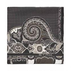 Etro Paisley/Dot Silk Pocket Square Black