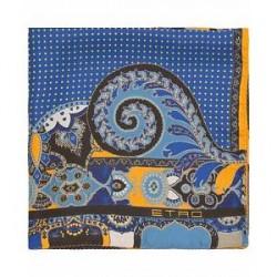 Etro Paisley/Dot Silk Pocket Square Blue