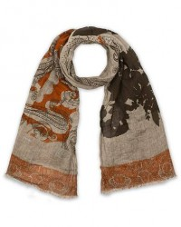 Etro Printed Linen Scarf Natural men One size Beige