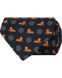 Etro Printed Lion Silk 8 cm Tie Navy men One size Blå