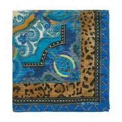 Etro Printed Paisley Pocket Square Blue
