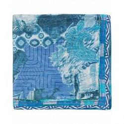 Etro Printed Paisley Pocket Square Light Blue