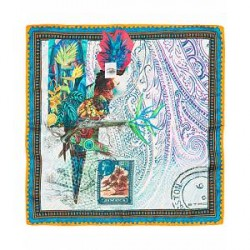 Etro Printed Parrot Pocket Square White