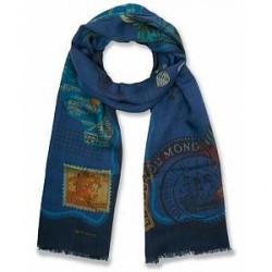Etro Wool Printed Shaal-nur Scarf Blue