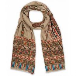 Etro Wool Printed Shaal-nur Scarf Brown