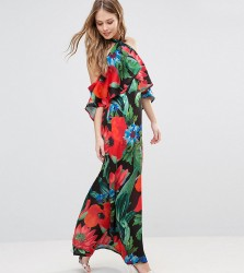 Every Cloud Dark Floral Halterneck Maxi With Ruffle - Multi