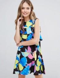 Every Cloud Electric Print Mini Dress With Ruffle Detail - Multi