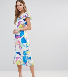 Every Cloud Electric Print Ruffle Midi Dress - Multi