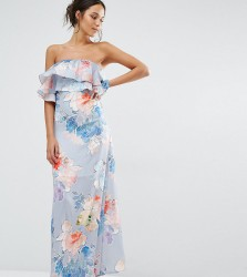 Every Cloud Etched Floral Frill Bandeau Maxi Dress - Multi