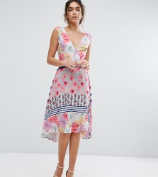 Every Cloud Floral Hi Low Hem Midi Dress - Multi