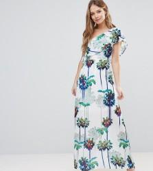 Every Cloud Hazey Palm Print One Shouder Maxi Dress - Multi