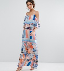 Every Cloud Multicoloured Floral Maxi Dress With Flutter Cold Shoulder Sleeve - Multi